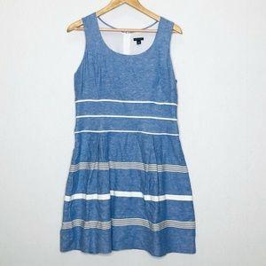 Ann Taylor Dress Chambray 10 A Line Striped Blue